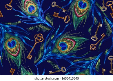 Embroidery colorful peacock feathers and golden keys. Horizontal seamless pattern. Classical fashionable embroidery. Template for design of clothes
