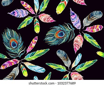 Embroidery colorful seamless pattern background with peacock feathers. Vector traditional folk fashion ornament on black background.