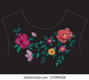 Embroidery colorful simplified ethnic neck line floral pattern with roses. Vector symmetric traditional folk flowers ornament on black background for design.