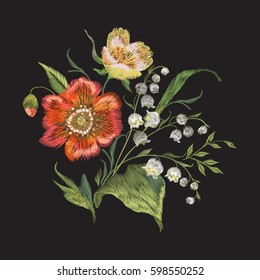Embroidery colorful trend floral pattern with poppies and lilies of the valley. Vector traditional folk flowers bouquet on black background for design
