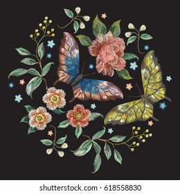 Embroidery colorful trend floral pattern with flowers and butterflies . Vector traditional folk roses and forget me not flowers bouquet on black background for design