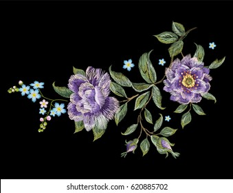 Embroidery colorful trend floral pattern with purple roses . Vector traditional folk roses and forget me not flowers bouquet on black background for design.