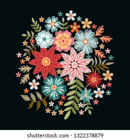 Embroidery composition with fantasy flowers. Pretty bouquet on black background. Floral vector illustration.