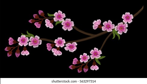 Embroidery crewel branch of cherry sakura tree March festival Hanami flowering celebrations blossoms on a black background. pink flowers. Spring in Japan. vector illustration.