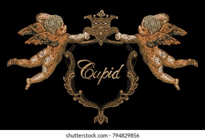 Embroidery. Cupids hold heraldic emblem. For fashion clothes, textiles, t-shirt design. Vintage vector for valentines day