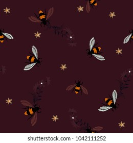 Embroidery dark tone honey bee,with flowers Fashion patch with insects illustration. Seamless pattern backdrop. Trendy traditional art on dark maroon color background.