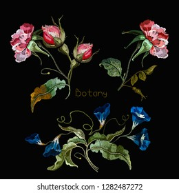 Embroidery datura flowers elements. Template for design of clothes, t-shirt design. botany art
