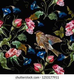 Embroidery datura flowers and titmouse birds seamless pattern. Fashion template for clothes, t-shirt design