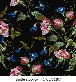 Embroidery datura spring flowers seamless pattern. Botanical art. Template for design of clothes