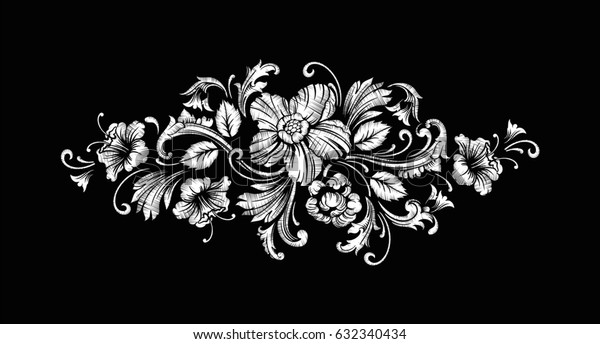 Embroidery Design in Baroque Style. Independent composition with flowers and leaves. Vector