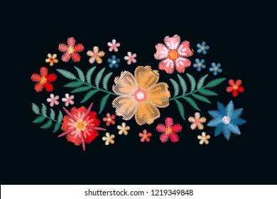 Embroidery design with beautiful flowers and leaves. Colorful bouquet isolated on black background. Satin stitch in vector.