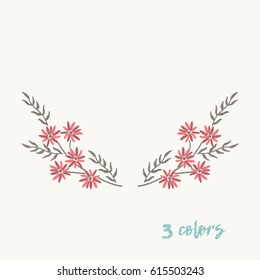 Embroidery design for clothing.Embroidery stitches with red flowers for neckline.