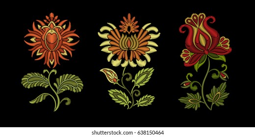 Embroidery design. Collection of floral elements for fabric and textile prints, patches or stickers. Beautiful ethnic flowers ornament in traditional Ukrainian decorative painting style of Petrykivka.