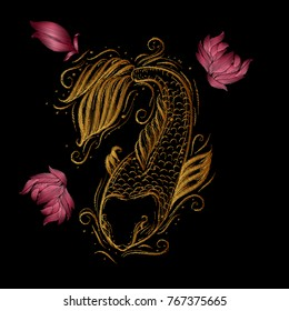Embroidery design element with carp Koi and peonies.