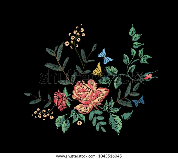 Embroidery Design On Black Background Red Stock Vector Royalty Free 1045516045
