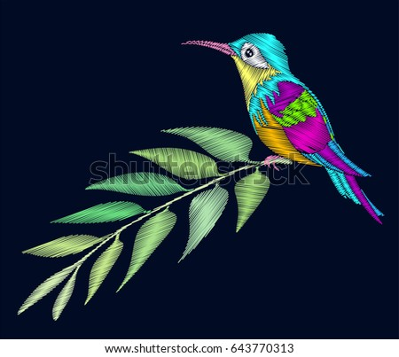 Embroidery Design Small Bird Hummingbirds Sitting Stock Vector