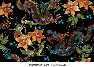 Embroidery dragons and narcissus seamless pattern. Classical embroidery Asian dragon and beautiful flowers