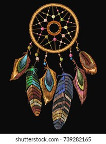 Embroidery dream catcher boho native american indian talisman dreamcatcher. Clothes ethnic tribal design. Magic tribal feathers. Fashionable template for design of clothes