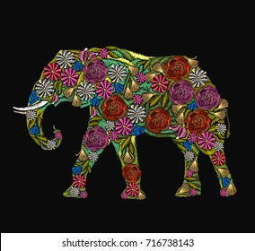 Embroidery elephant. Classical embroidery flower indian elephant. Indian ornaments animals clothes fashion t-shirt design. African ethnic elephant, yoga, Indian, Embroidery spirituality, boho art