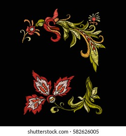 Embroidery. Embroidered design elements with flowers and leaves in vintage style on a black background. Stock vector illustration.