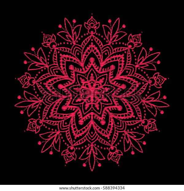 Embroidery Embroidered Design Elements Red Mandala Stock Vector Royalty Free 588394334