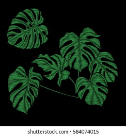 Embroidery. Embroidered design elements with tropical plant on a black background. Stock vector illustration.