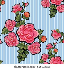 Embroidery ethnic floral patches with red and pink roses. Vector flowers elements for fashion design.