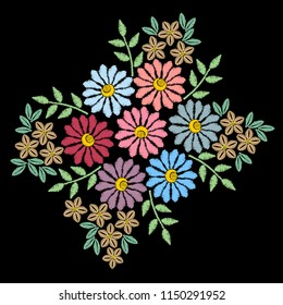 Embroidery ethnic floral stitches imitation pattern with brunch with flower. Vector embroidery traditional folk flowers ornament on black background.