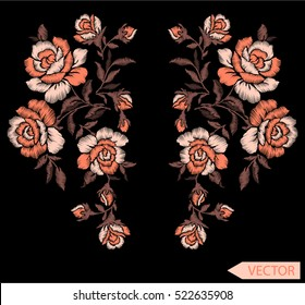 Embroidery ethnic flowers neck line flower design graphics fashion wearing