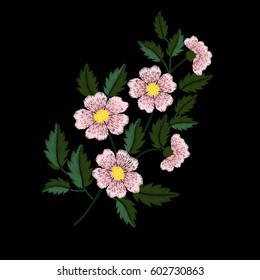 Embroidery ethnic flowers on black background. Satin stitch imitation, vector.