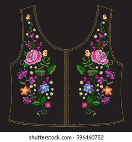 Embroidery ethnic neck line floral pattern with  colorful roses and butterflies. Vector symmetric traditional folk ornament with flowers on black background for design.