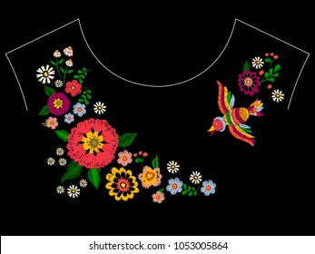 Embroidery ethnic neckline pattern with bird and flowers. Vector embroidered floral design for fashion fabric.