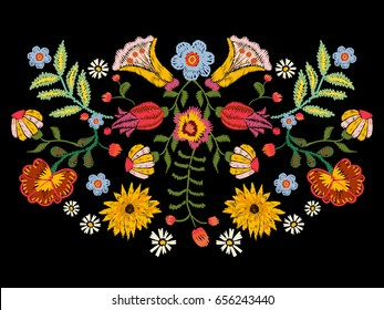 Embroidery ethnic pattern with colorful flowers. Vector traditional floral bouquet. Tribal style design for fashion wearing.