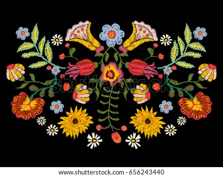 Embroidery Ethnic Pattern Colorful Flowers Vector Stock-Vektorgrafik ...