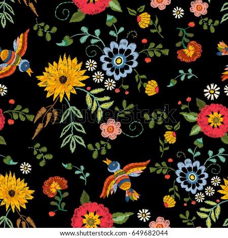 Embroidery Ethnic Seamless Pattern Birds Fantasy Stock-Vektorgrafik ...