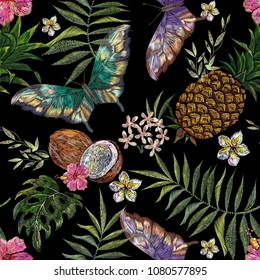 Embroidery exotic floral pattern with butterflies and tropical flower and coconut. Vector seamless embroidered template for fashion design.