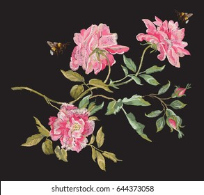 Embroidery fashion floral pattern with peonies and bees. Vector traditional embroidered bouquet with flowers on black background for clothing design.