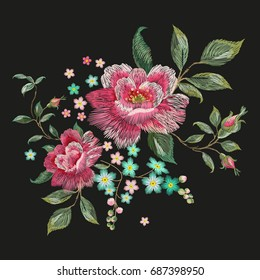 Embroidery fashion floral pattern with pink roses. Vector traditional embroidered patch with flowers on black background for clothing design.