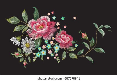 Embroidery fashion floral pattern with roses and chamomiles. Vector traditional embroidered bouquet with flowers on black background for clothing design.