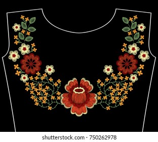 Embroidery fashion patch for neckline with flowers, berries, plants pattern for woman apparel decoration