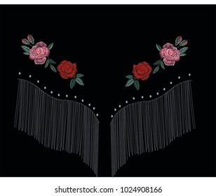 embroidery for fashion red rose western flower embroidery
