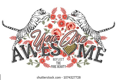 embroidery fashion rose and leaf and wild tiger graphic for tee and t shirt and fabric print