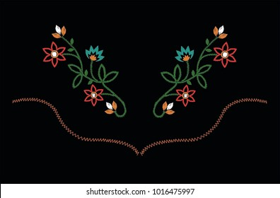 embroidery for fashion  western floral embroidery  color