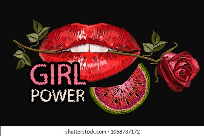 Embroidery female sexy gloss red lips with fresh rose flower in the teeth and  watermelon. Embroidery lips and roses flowers