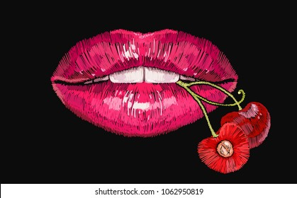 Embroidery female sexy gloss red lips with fresh cherry  in the teeth. Template for clothes, textiles, t-shirt design. Embroidery lips and red cherry