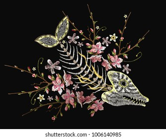 Embroidery fish bone and blossoming cherry flowers, gothic art background. Embroidery skeleton of fish, sea art. Fashionable template for design of clothes, t-shirt