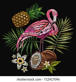 Embroidery flamingo, palm tree leaves, pineapple, coconut tropical art. Fashionable embroidery pink flamingos, tropical summer background. Fashionable template for design of clothes