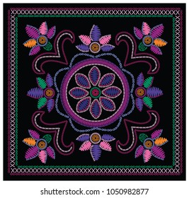 Embroidery with  floral arabic ornament.  For t-shirt design, poster, banner and other design.