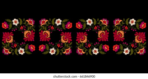 Embroidery floral border. Ethnic vector ornament. Tribal Mexican style isolated on black background.