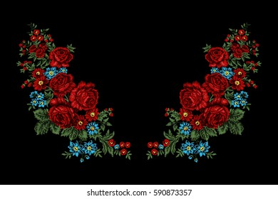 Embroidery floral ethnic neck line design, vector vintage print with red roses. Fashion wearing.